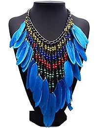 Sitong Womens Vintage Aleaci¨®n Azul Larga Etnia Tribal Boho Bohemia Pluma Franja De Borlas De Perlas Con Collar Collar Jewelly Collar