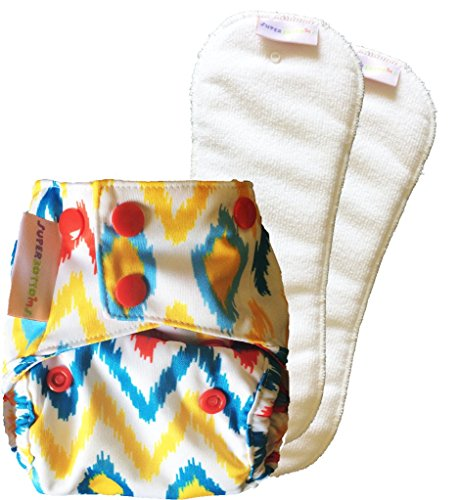 Superbottoms Newborn Cloth Diaper With 2 Dry Feel Soakers - Ikat Chevron