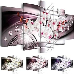 Quadro 200x100 cm ! Tre colori da scegliere - 5 Parti - Grande formato - Quadro su tela fliselina - Stampa in qualita fotografica -- Fiore Orchidea Diamondo b-A-0238-b-o 200x100 cm B&D XXL