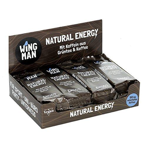 WINGMAN Natural Energy - Riegel (Choco Crunch-Geschmack, 16 Riegel) | Vegan & Fitness Booster | Energieriegel mit Koffein