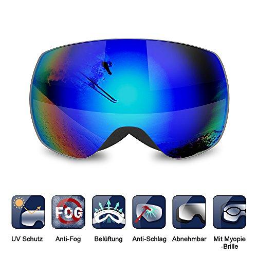 Skibrille, TOMOUNT Snowboardbrille 100% UV-Schutz Schneebrille dauerhafter Anti-Fog mit PC Dual-Linse Wind-durchlüft Anti-Schlag Weitwinkel Für Damen und Herren, VLT 12% für Wintersport
