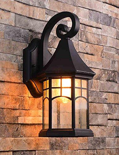 American Retro Patio Balcon Escalier extérieur étanche Lampe de Mur (2 Couleurs Disponibles) (Couleur : A)