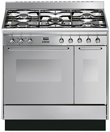 Smeg Range Cooker with Cookology Cooker Hood Pack – CC92MX9 Cucina Double Cavity 90cm Dual Fuel Range Cooker & Cookology 90cm Stainless Steel Cooker Hood