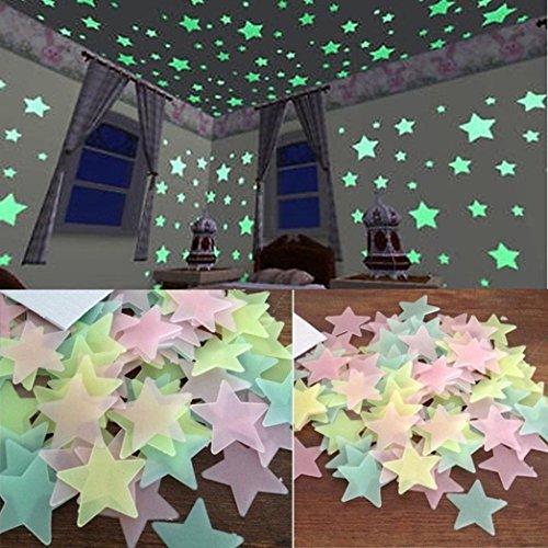 TWIFER 100 Stück Kinder Schlafzimmer Fluoreszierende Leuchten in Den Dunklen Sternen Wand Aufkleber