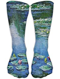 Jiayou J Unisex Classics Socks Cropped Water Lilies Monet Painting Athletic Stockings 30cm Long Sock One
