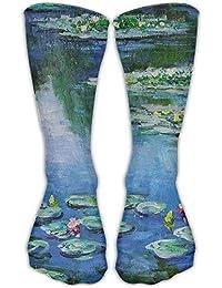 Jiayou J Unisex Classics Socks Cropped Water Lilies Monet Painting Athletic Stockings 30cm Long Sock One