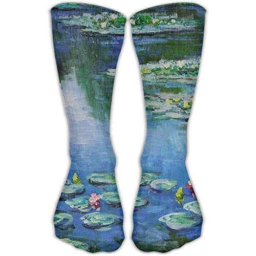 83298ccb6ef Jiayou J Unisex Classics Socks Cropped Water Lilies Monet Painting Athletic  Stockings 30cm Long Sock One