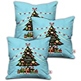 [Sponsored]Indibni Christmas Gifts Merry Christmas Quote Decorated Xmas Tree With Ornaments And Gifts Underneath Blue Cushion Cover 12x12 With Filler Set Of 3 - Gift For Birthday, Anniversary, Home Decor, X-mas