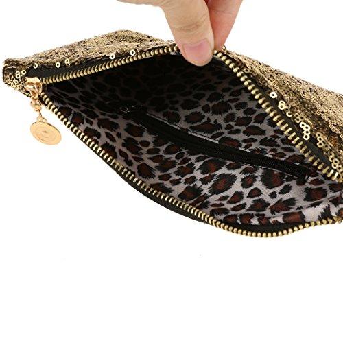 Aulei Handtasche Damen Abendtasche Clutch Pailletten Brieftasche Party und Fest Gold