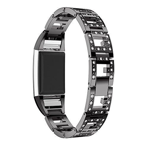 Gimartuk Band für Fitbit Charge 2, Metall-Armband mit glitzernden Strasssteinen für Damen und Mädchen. Schmuck-Ersatz-Armband, Armreif 14cm - 20,5 cm. Einstellbar., schwarz, Small / Large