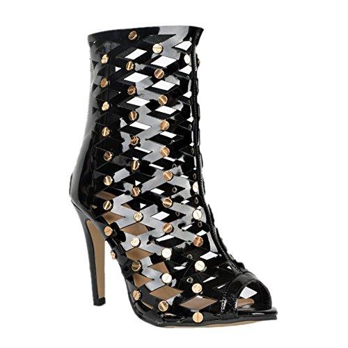 Kolnoo Damen Faschion 10.5cm reizvoller Ausschnitt Blick Zehe Absatz Knöchel Sandelholz Partei Schuhe Black