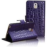 Semoss - Funda de cuero para Samsung Galaxy Note 3 (piel sintética, con función atril, con crédito titular tarjeta), diseño de piel de cocodrilo púrpura rosso