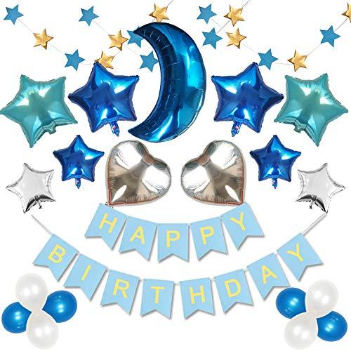 Mainisui Geburtstag Dekoration Set Mädchen Jungen Mond Sterne Ballon Partei liefert Alles Gute zum Geburtstag Banner Thema Dekor begünstigt 23 Stück Kit Baby Shower ersten Geburtstag(Blau)