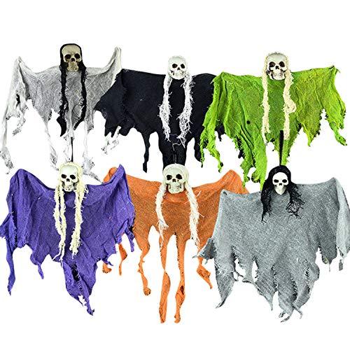 Libertepe 6 Pcs Hängende Geist Halloweendeko Schädel Partyzubehör für Garten Club Halloweenparty Mottoparty in 6 verschiedenen Farben