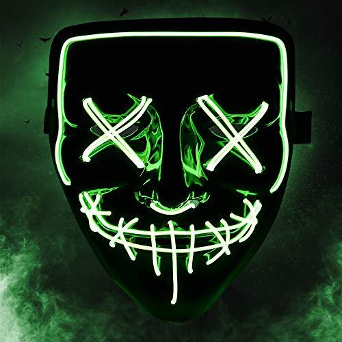 KOROSTRO Halloween Maske LED, Light EL Wire Cosplay Maske mit 3 Blitzmodi für Halloween Fashing Karneval Party Kostüm Cosplay Erwachsene Masken Batterie Angetrieben(Nicht Enthalten) (Hohe Qualität Halloween Herren Kostüm)