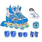 GWJ Kinder Inline Skates Einstellbare Rollerskates mit Full Light up LED-Räder, Fun Flashing Roller Skates Für Jungen und Mädchen,M
