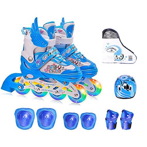GWJ Kinder Inline Skates Einstellbare Rollerskates mit Full Light up LED-Räder, Fun Flashing Roller Skates Für Jungen und Mädchen,M (Light Skates Up Roller)