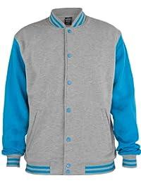 URBAN CLASSICS 2-Tone College Sweatjacke TB207 grey/turquoise 3XL