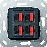 Gira 569410 Lautsprecher Anschluss 4 fach Einsatz, schwarz matt