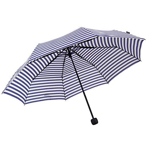 Parapluie Parapluie pliant à rayures triple anti-UV pliable (Couleur : Bleu)