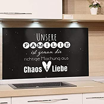 K/üchenr/ückwand Glas Familienspruch // 100x60cm Glasplatte K/üche Granitoptik Nischenr/ückwand K/üche lustiger Spruch GRAZDesign K/üchen Spritzschutz Herd Steinoptik