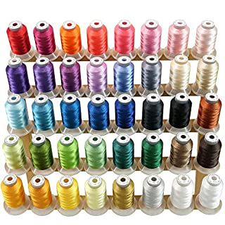 New brothread 40 Brother Colours Polyester Machine Embroidery Thread Kit 500M (550Y) Each Spool for Brother Babylock Janome Singer Pfaff Husqvarna Bernina Embroidery and Sewing Machines