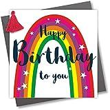 """Biglietto di auguri di compleanno con nappa, con scritta """"Happy Birthday to you"""", arcobaleno."""
