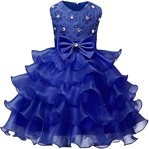La Cabina Bébé Fille Girl Robe Formal de Princesse en Satin & Fleurs Derrière Long pour Soirée Cérémonie Mariage (6 ans)