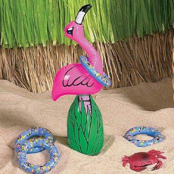 Ringwurfspiel aufblasbar Flamingo mit 4 aufblasbaren Ringen Palandi® (Aufblasbare Hula)