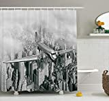 JAKE SAWYERS Vintage Decor Shower Curtain Set, Nostalgic Dated Plane Flying Over Skyscrapers in New York City Urban Life Events, Bathroom Accessories, 84 inches Extralong, Grey