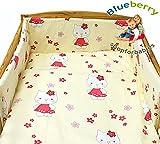 blueberryshop Bettbezug, Kissenbezügen und Bumper Bettwäsche Set für Babybett, creme Kitty, 3-teilig