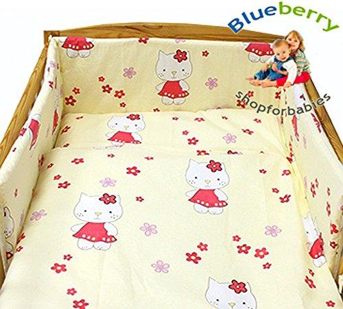 BlueberryShop Set 3Pezzi Per Lettino Letto Set Copripiumino + Federe + Paracolpi Lettino (90,2x 119,4cm) (0-3yrs) (120x 90cm) Crema Giraffa