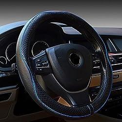 FREESOO Couvre Volant Voiture Universel en Cuir 15 inch 38cm Auto Accessoirs Respirante Antidérapante Housse Volant pour Voiture/Camion/SUV Noir/Bleu