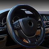 FREESOO Coprivolante Traspirante, Antiscivolo Copertura di Volante Universale in Pelle Accessori dell'automobile 38cm per la Macchina Blu Nero