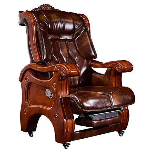 XUE Boss Chair, Leder Solid Wood Home Executive Chair Reclining Suede Managerial Chairs Belt Massage President Office Office Turn Chair Recliner Retractable Footrest 360°Degree Swivel
