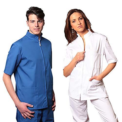 Aiesi divisa ospedaliera unisex uomo donna in cotone 100% sanforizzato pantaloni + casacca con zip - sanitaria medicale per medico infermiere oss estetista made in italy - xs bianco