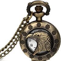 JewelryWe Gioielli collana con pendente da uomo donna aquila testa Hollow pendente Bronzo Orologio da tasca catenina lunga 80cm