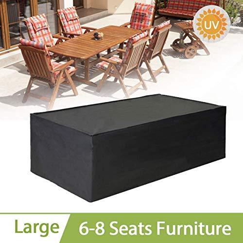 Goldenla Schwarzes rechteckiges Möbel-Set, Sofa-Abdeckungs-Garten-wasserdichte Stuhl-Tabellen-Abdeckung im Freien (Size : 200x160x70CM)