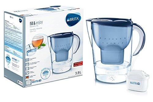 Brita - Karaffe mit Wasserfilter, kompatibel für Maxtra+-Kartuschen, Farbe: Weiß 3,5 L blau