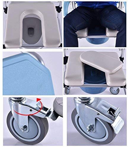 51BTgOQPM2L - AGGL Cuadrados móviles portátiles de Altura Fija, váter móvil y Silla para baño, Silla de Ducha con Ruedas y Frenos
