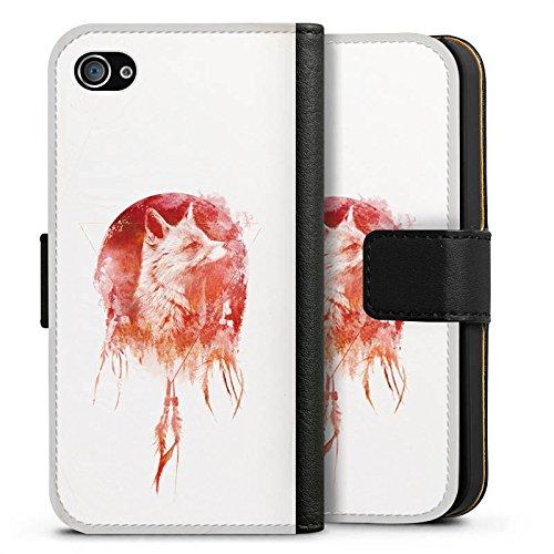 Apple iPhone X Silikon Hülle Case Schutzhülle Fuchs Mond Traumfänger Sideflip Tasche schwarz