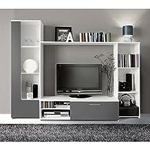 Meuble tv bibliotheque for Meuble en verre pour tv
