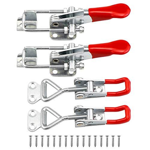 Yotako Knebel-Klemme, 4 Stück, verstellbar, Metall, Zugriegel, Schnellspanner, robust, 360 kg, mit 24 Schrauben für Smoker Jig Tür Box Anhänger