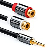 deleyCON HQ Stereo Audio Cinch zu Klinken Adapter - 3,5mm Klinken Stecker zu 2x RCA Cinch Buchse - METALL - vergoldet
