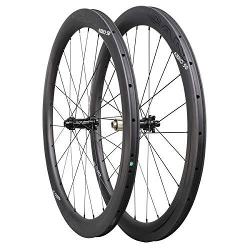 ICAN Ruedas de Carbono Aero 50 Disc Bicicleta de Carretera Ruedas 50mm Clincher tubeless Ready Disco...