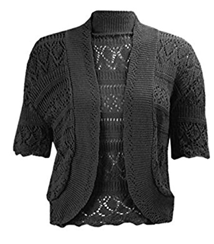 Womens New Crochet Front Open Ladies Short Sleeve Knitted Bolero Cropped Cardigan Shrug Top Plus Size