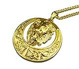 VanZan Herren vergoldete Löwenkette Halskette mit Löwen Anhänger Gold (55cm)
