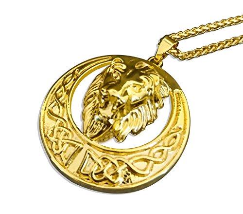 Löwen Anhänger Gold (VanZan Herren vergoldete Löwenkette Halskette mit Löwen Anhänger Gold (55cm))