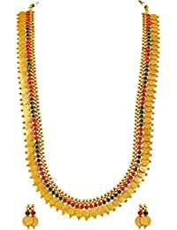 Asmitta Traditional Laxmi Coin Gold Plated Matinee Style Copper Necklace Set For Women