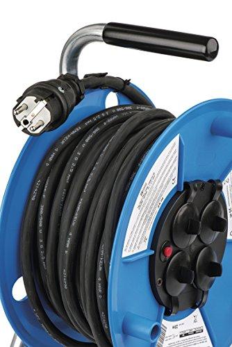 EMOS E 10P Profi-Kabeltrommel, 25m Kabel mit 4 Schuko Steckdosen, 2,5 mm2 Gummi, IP44, für Außenbereich, 3680 W, 230 V